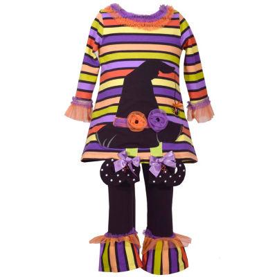 Bonnie Jean 2pc Stripe Witch Hat Legging Set-Baby Girls