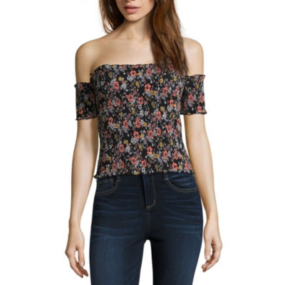 Almost Famous Womens Straight Neck Short Sleeve Jersey Blouse-Juniors