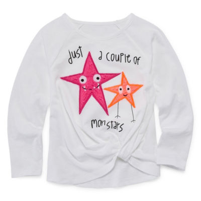 Okie Dokie Crew Neck Long Sleeve Blouse - Toddler Girls
