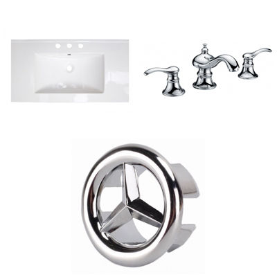 32-in. W 3H8-in. Ceramic Top Set In White Color -CUPC Faucet Incl.