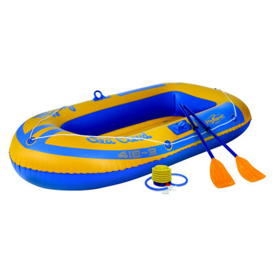 Stansport 2-Person Vinyl Inflatable Boat with Repair Kit - 46-Inch x 78-Inch