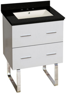 23.75-in. W Floor Mount White Vanity Set For 3H8-in. Drilling Black Galaxy Top Biscuit UM Sink