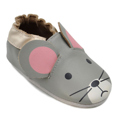 Momo Baby Unisex Soft Sole Leather Baby Shoes - Mouse