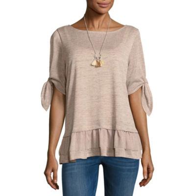 Alyx Short Sleeve Round Neck Knit Blouse