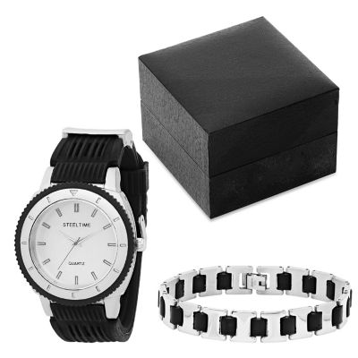 Steeltime Mens Black Bracelet Watch-954-004-Bw