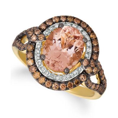 Grand Sample Sale™ By Le Vian® Peach Morganite™ 3/4 CT. T.W. Vanilla Diamonds® & Chocolate Diamonds® Ring set in 14K Honey Gold™