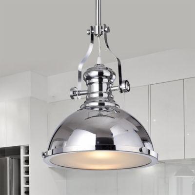 Didya 1-Light 13-Inch Chrome Dome Pendant