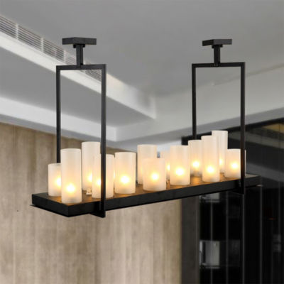 Namraq Black 14 Upper Candle Lights and 3 Bottom LED Bulbs Includes Chandelier