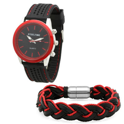 Steeltime Mens Black Bracelet Watch-954-005-Bw