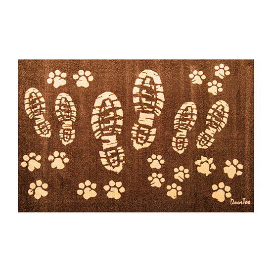 Doortex Boot print and Paw Print Design Wash Room Mat