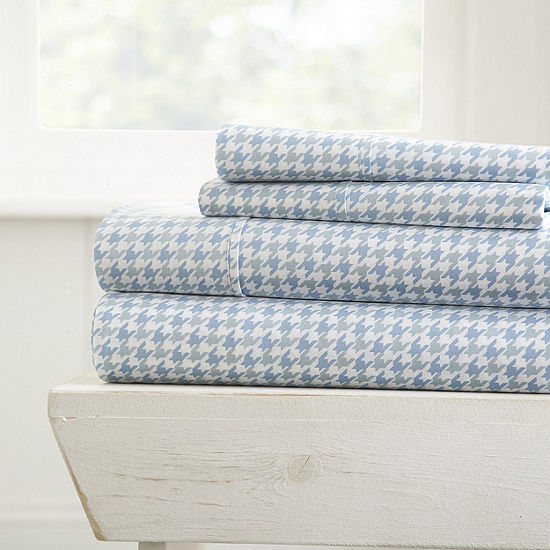 Casual Comfort Ultra Soft Hounds Tooth Pattern 4 Piece Bed Sheet Set