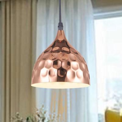 Vidgeon 1-Light Hammer Dent Copper Pendant Edison Bulb Included