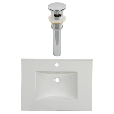 30.75-in. W 1 Hole Ceramic Top Set In White Color- Overflow Drain Incl.