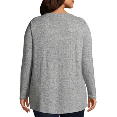 Boutique + Brushed Knit Long Sleeve Side-Knot Top - Plus