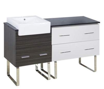 60.75-in. W Floor Mount White-Dawn Grey Vanity SetFor 1 Hole Drilling Black Galaxy Top
