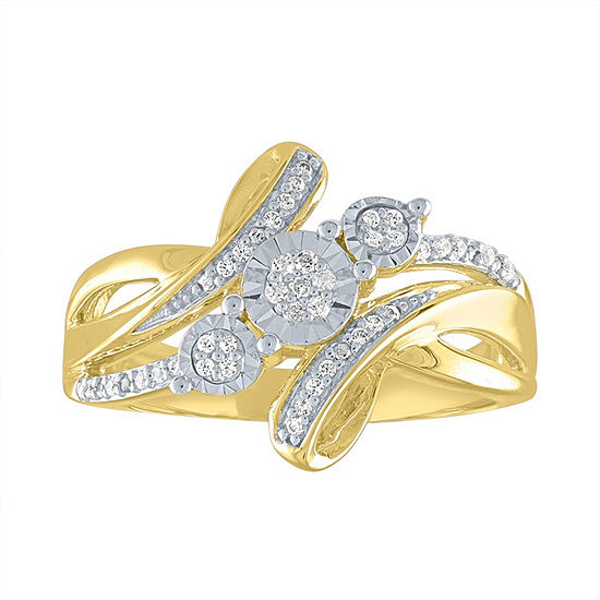 Womens 1/10 CT. T.W. Genuine White Diamond 14K Gold Over Silver Crossover Cocktail Ring