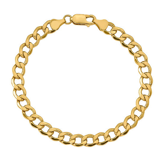 10K Gold 9 Inch Semisolid Curb Chain Bracelet