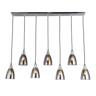 Breffa Chrome 7-light Linear Chandelier Smoked Glass Shade with Edison Bulbs