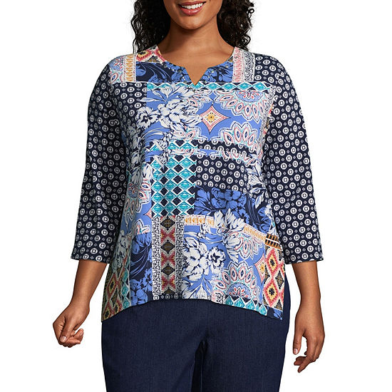 Alfred Dunner Out of the Blue Batik Patch Tee - Plus