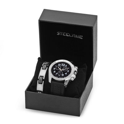 Steeltime Mens Black Bracelet Watch-954-006-Bw