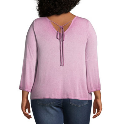 Arizona Womens V Neck 3/4 Sleeve Knit Blouse-Juniors Plus