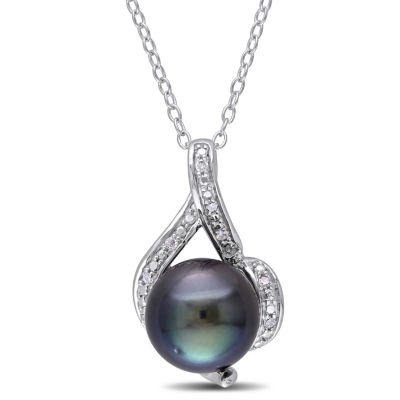 Womens Diamond Accent Black Cultured Tahitian Pearls Sterling Silver Pendant Necklace