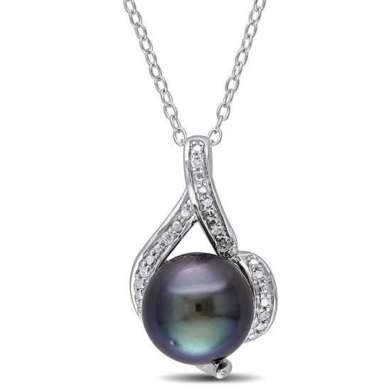 Womens Diamond Accent Black Cultured Tahitian Pearl Sterling Silver Pendant Necklace