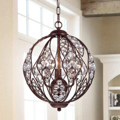 Drusia Rustic-finished Iron and Crystal 13-inch Globe Pendant Light