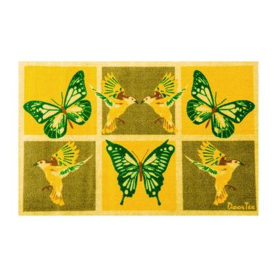 Doortex Sun Room Yellow Butterfly Design Short Runner Mat