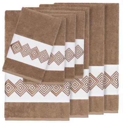 Linum Home Textiles 100% Turkish Cotton Noah 8PC Embellished Towel Set