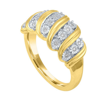 Womens 1/10 CT. T.W. White Diamond Gold Over Silver Cocktail Ring