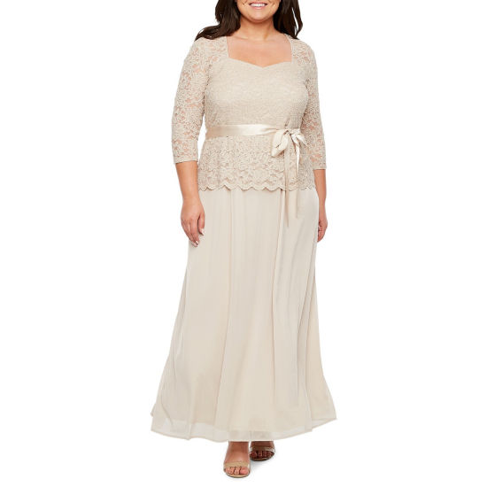 Onyx Nites 3/4 Sleeve Lace Top Evening Gown - Plus