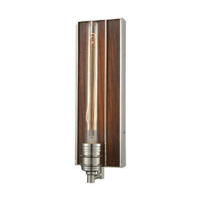 Brookweiler 1 Light Wall Sconce In Polished Nickel With Dark Wood Backplate