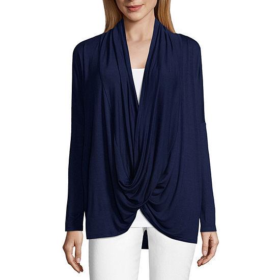 Liz Claiborne Long Sleeve Surplice Knit Top-Womens