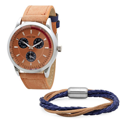 Steeltime Mens Orange Bracelet Watch-998-003-Bw