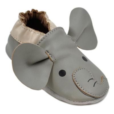 Momo Baby Unisex Soft Sole Leather Shoes - Elephant