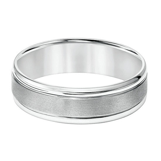 6.5MM 14K White Gold Wedding Band