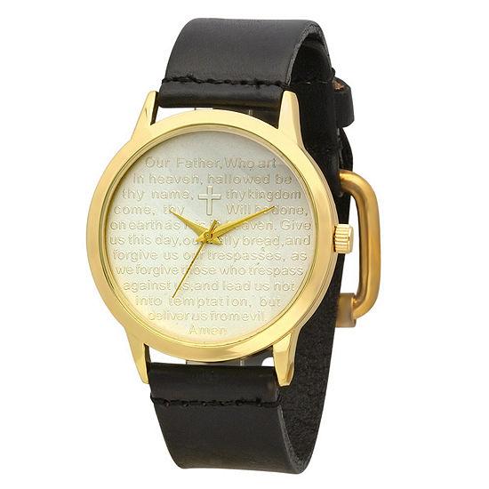 Steeltime Mens Lord's Prayer Black Bracelet Watch-998-014-W