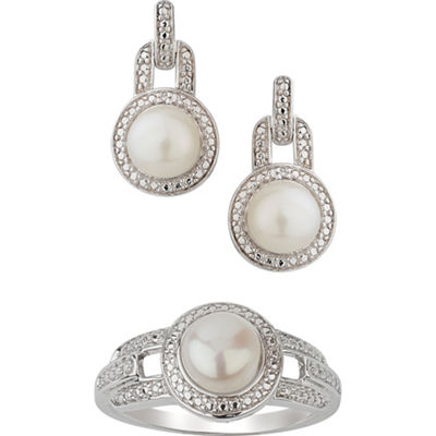 Diamond Accent White Cultured Freshwater Pearl Sterling Silver 2-pc. Jewelry Set