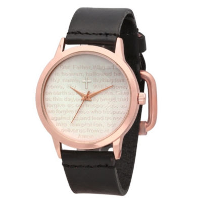 Steeltime Mens Lord's Prayer Black Bracelet Watch-998-015-W