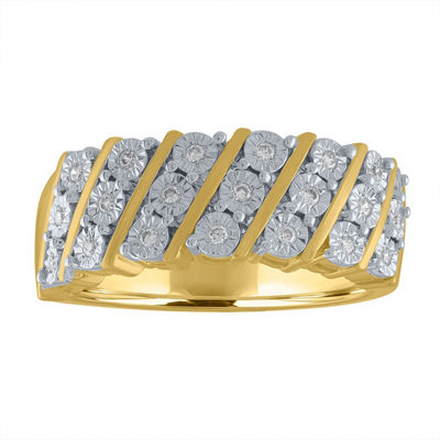 Womens 1/10 CT. T.W. Genuine White Diamond 14K Gold Over Silver Cocktail Ring