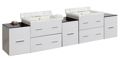 88.5-in. W Wall Mount White Vanity Set For 3H4-in.Drilling Bianca Carara Top Biscuit UM Sink