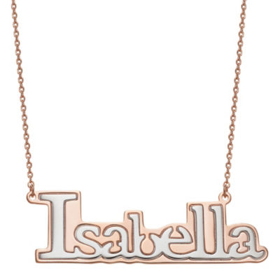 Personalized Womens 14K Two Tone Gold Over Silver Pendant Necklace