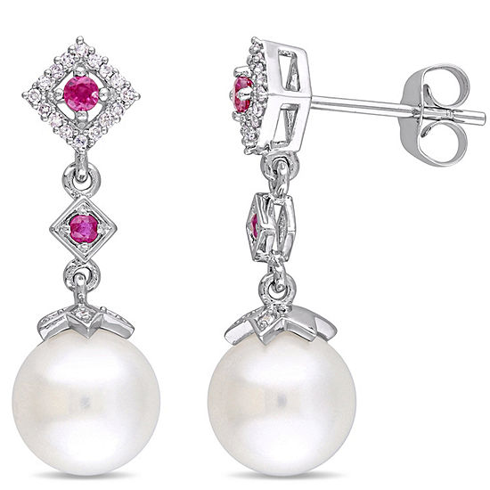 1 10 Ct Tw White Cultured Freshwater Pearl 10k White Gold Drop Earrings