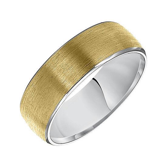 Unisex 7mm 14K Two Tone Gold Wedding Band