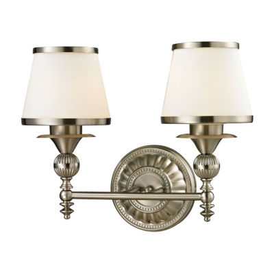 Smithfield 2 Light LED Vanity In Brushed Nickel And Opal White Glass
