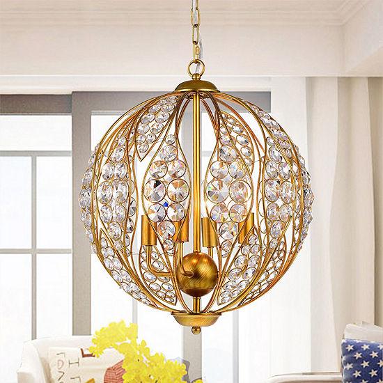 Dulne Antique Goldtone Metal 13-inch 3-light Crystal Globe Pendant