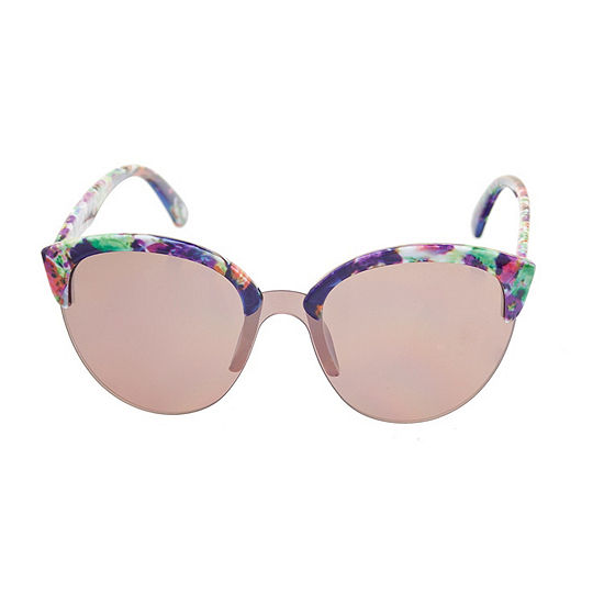Nicole By Nicole Miller Womens Half Frame Round UV Protection Sunglasses
