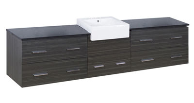 96.25-in. W Wall Mount Dawn Grey Vanity Set For 3H4-in. Drilling Black Galaxy Top