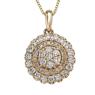 Diamond Blossom Womens 1/2 CT. T.W. Genuine White Diamond 10K Gold Pendant Necklace